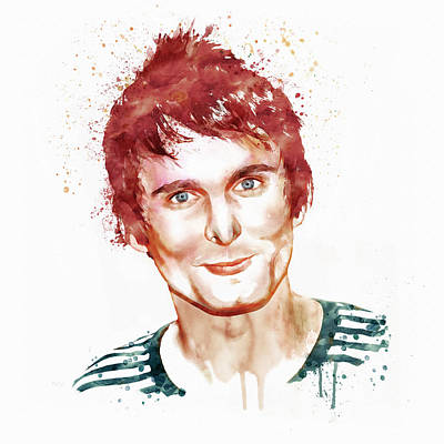 Matthew Bellamy Watercolor Print by Marian Voicu