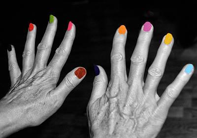Mature Hands Print by Alex Hardie