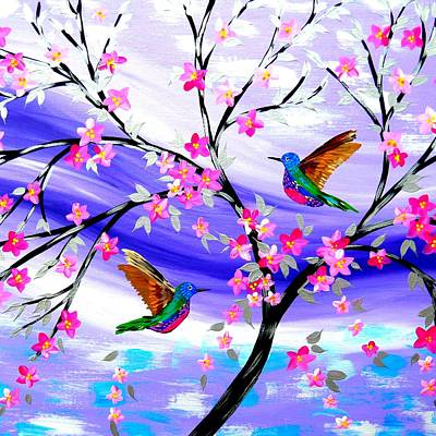 Hummingbird Drawing - Mauve Fantasy With Sakura by Cathy Jacobs