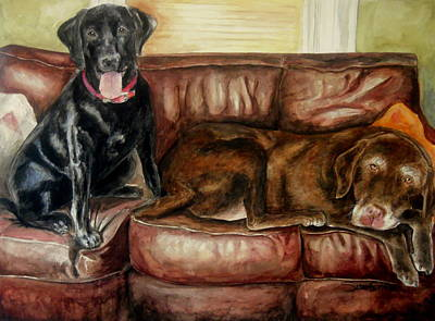 Chocolate Lab Puppy Painting - Max N' Dewey by Susan Gauthier