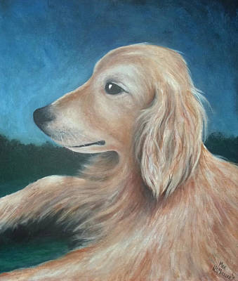 Max- Portrait Of A Golden Retriever Original by Nancy Mueller