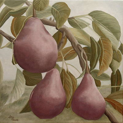 Pear Painting - Max Red Bartlett Pears by Angeles M Pomata