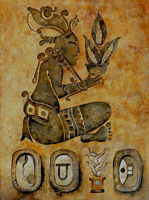 Mayan Corn God Print by Mary jane Miller