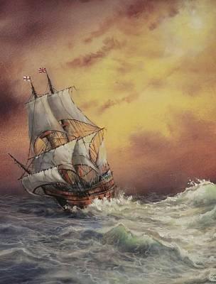 Mayflower At Sea Detail Print by Tom Shropshire