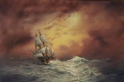 Mayflower At Sea Print by Tom Shropshire