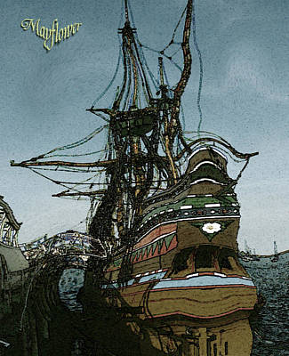 Mayflower - Drawing Painting Illustration Print by Art America Online Gallery