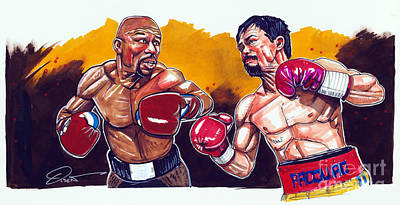 Mayweather Pacquiao Fight Print by Dave Olsen