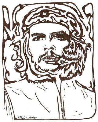 Frimer Drawing - Maze Revolution Che Guevara by Yonatan Frimer Maze Artist