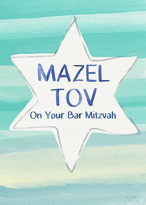 Stars And Bars Mixed Media - Mazel Tov On Your Bar Mitzvah-  Art By Linda Woods by Linda Woods