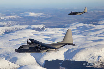 Snow-covered Landscape Photograph - Mc-130p Combat Shadow And Mc-130h by Gert Kromhout