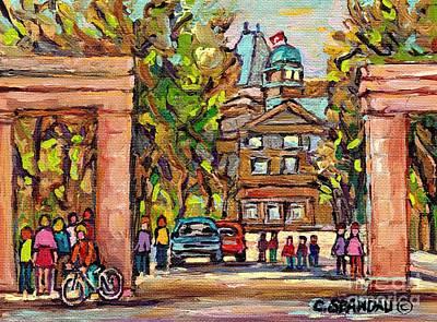 Montreal Painting - Mcgill Gates  Entrance Of Mcgill University Montreal Quebec Original Oil Painting Carole Spandau by Carole Spandau