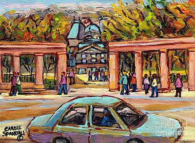 Montreal Cityscenes Painting - Mcgill Gates Mcgill University Roddick Gates Montreal Original Oil Painting Carole Spandau          by Carole Spandau