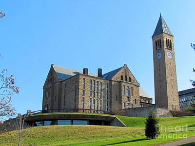 Mcgraw Tower And Uris Library Print by Elizabeth Dow