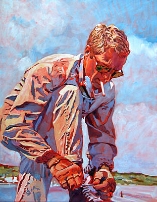 Le Mans 24 Painting - Mcqueen Cool - Steve Mcqueen by David Lloyd Glover
