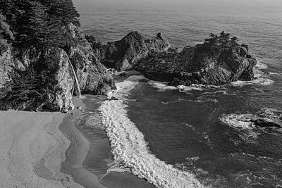 Of Big Sur Beach Photograph - Mcway Cove Waterfall Black And White by Garry Gay