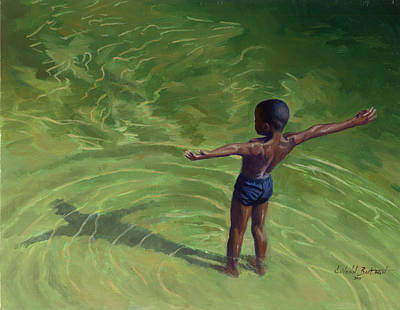 Boys Swimming Painting - Me by Colin Bootman