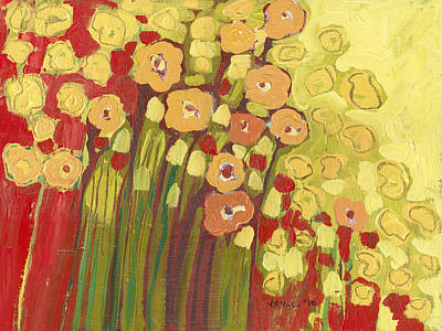 Red Flower Painting - Meadow In Bloom by Jennifer Lommers