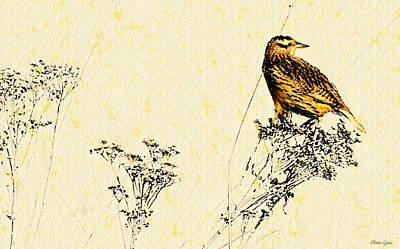 Meadowlark Digital Art - Meadowlark In Kansas Prairie 2 by Anna Louise