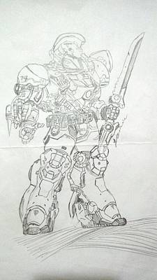 Mecha Drawing - Mecha Warrior by Jonathan Le