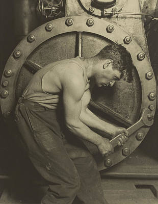 Mechanic And Steam Pump Print by Lewis Wickes Hine