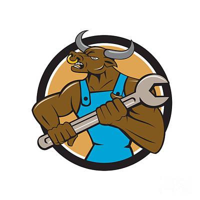 Minotaur Digital Art - Mechanic Minotaur Bull Spanner Circle Cartoon by Aloysius Patrimonio