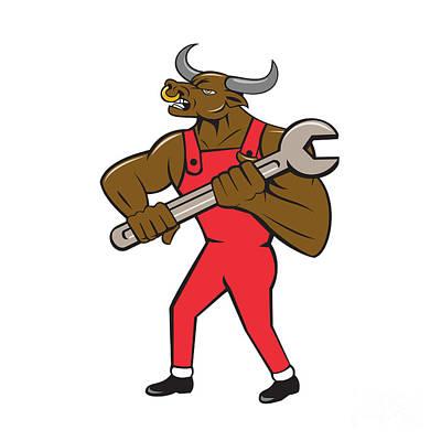 Minotaur Digital Art - Mechanic Minotaur Bull Spanner Isolated Cartoon by Aloysius Patrimonio