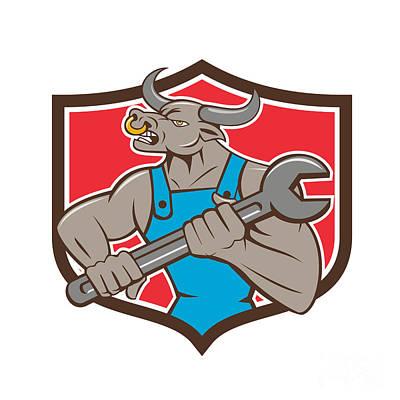Minotaur Digital Art - Mechanic Minotaur Bull Spanner Shield Cartoon by Aloysius Patrimonio