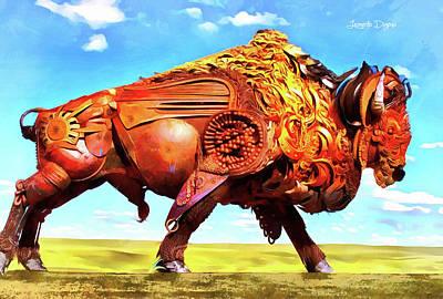 Texan Painting - Mechanical Bull by Leonardo Digenio
