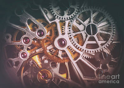 Swiss Photograph - Mechanism, Clockwork Of A Watch With Jewels, Close-up. Vintage Luxury by Michal Bednarek