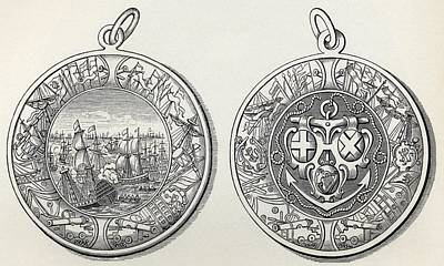 Seventeenth Century Drawing - Medal Commemorating Admiral Robert by Vintage Design Pics