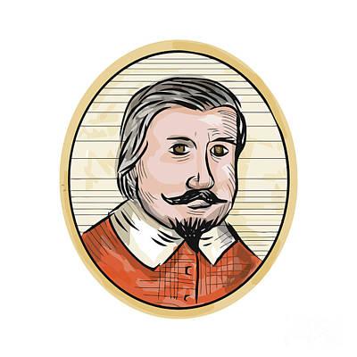Medieval Aristocrat Gentleman Oval Woodcut Print by Aloysius Patrimonio