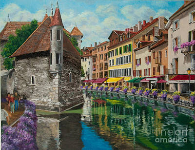 Medieval Painting - Medieval Jail In Annecy by Charlotte Blanchard