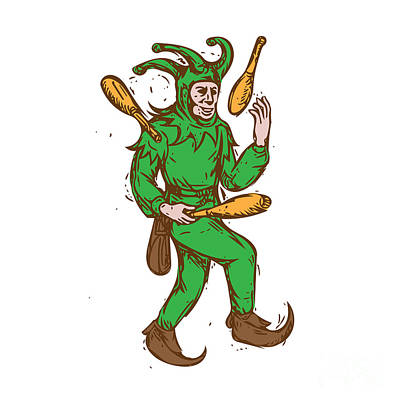 Medieval Jester Juggling Wooden Pins Drawing Print by Aloysius Patrimonio