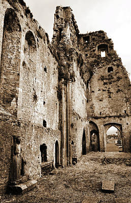 Medieval Ruins Of Athassel Priory County Tipperary Ireland Sepia Print by Shawn O'Brien