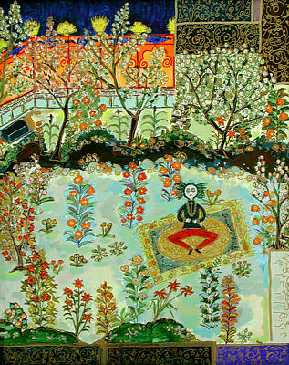 Persian Carpet Painting - Meditating Master In Courtyard by Maggis Art