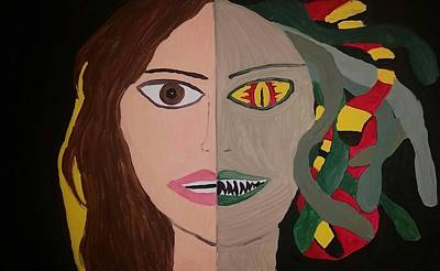 Gorgon Painting - Medusa At The Moment Of Transformation by Vale Anoa'i