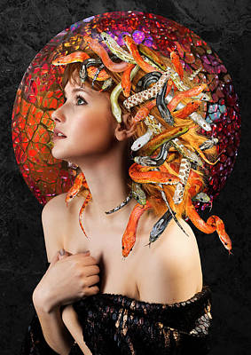 Gorgon Digital Art - Medusa, Greek Mythological Goddess by Debra Jayne