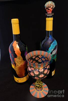 Hand Painted Wine Glass Photograph - Meeker Merlot Merriment by Barbie Corbett-Newmin