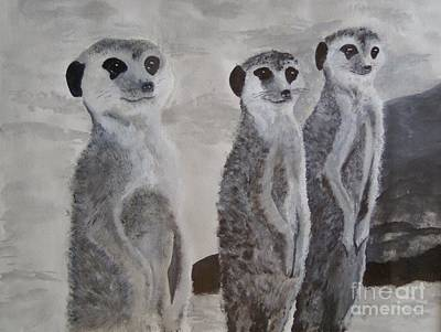 Meerkat Painting - Meerkats 3 by Martin Bond