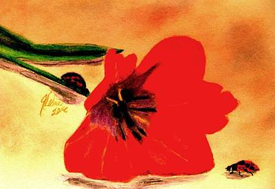 Ladybug Drawing - Meet Me In The Tulips by Angela Davies