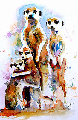 Meerkat Painting - Meet The Family by Steven Ponsford