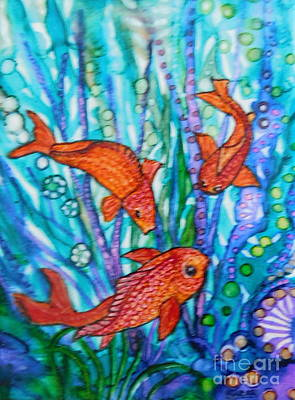 Abstract Using Brilliant Colors Painting - Meeting Of The Koi by Joan Clear