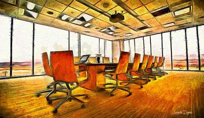 Furniture Digital Art - Meeting Room - Da by Leonardo Digenio