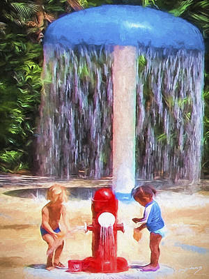 Painting - Meetup At The Water Park by David Wagner