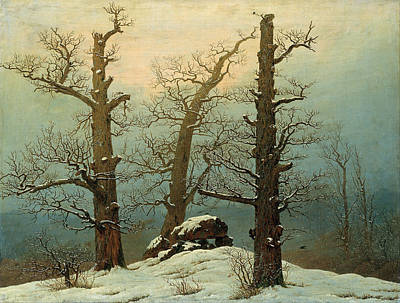 Caspar Painting - Megalithic Grave In The Snow by Caspar David Friedrich
