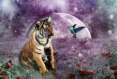 Tiger Digital Art - Megan Molly And The Moon by Julie L Hoddinott