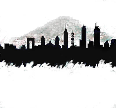 Philadelphia Painting - Meixco City Df Monochrome Skyline by Enki Art