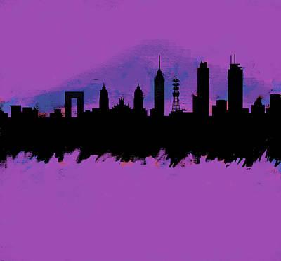 Philadelphia Skyline Painting - Meixco City Df Skyline Purple  by Enki Art