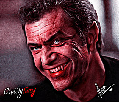 Mel Gibson Print by Gene Spino