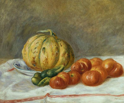 Melon And Tomates Print by Pierre Auguste Renoir